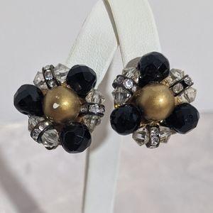 Vintage Gold & Black Rhinestone Clip Earrings